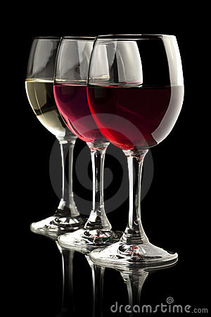 Free Red, Rose And White Wine Glasses In A Black Backgr Stock Photo - 19115680
