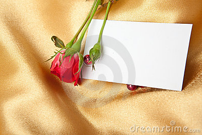Red rose and blank card on golden satin
