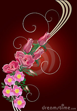 Red rose and brier flower wave