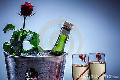 Red rose and champagne in ice cold