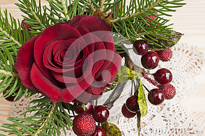 Red rose Christmas table decoration