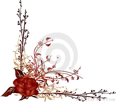 Red Rose Corner Vector