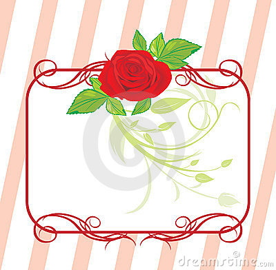 Red rose with floral ornament. Decorative frame