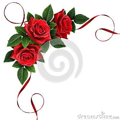 Free Red Rose Flowers And Silk Ribbon Corner Arrangement Royalty Free Stock Image - 81522516