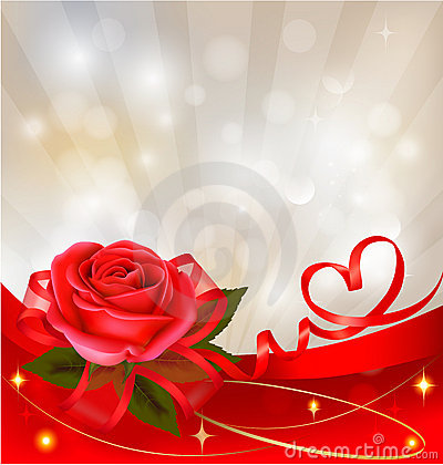 Red rose with gift red bow. illustration.
