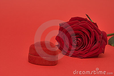 Red rose and heart