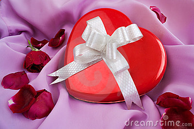 Red Rose and Heart-shaped Gift Box with Ribbon