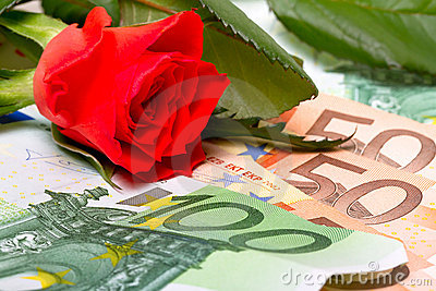 Red rose and money gift
