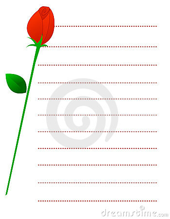 Red rose note paper