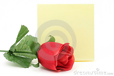 Red rose and notepaper