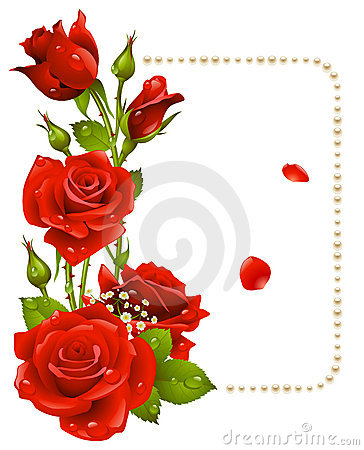 Red rose and pearls frame Vector Illustration