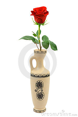 Red rose in retro vase