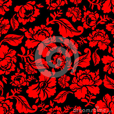 Free Red Rose Seamless Pattern. Floral Texture. Russian Folk Ornament Stock Photos - 73221223