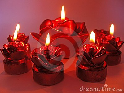 Red rose spa aroma candles set