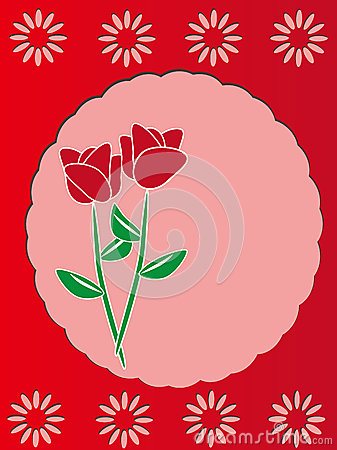 Red rose  template frame design