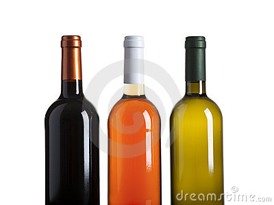 Red, rose and white wine bottles isolated on white