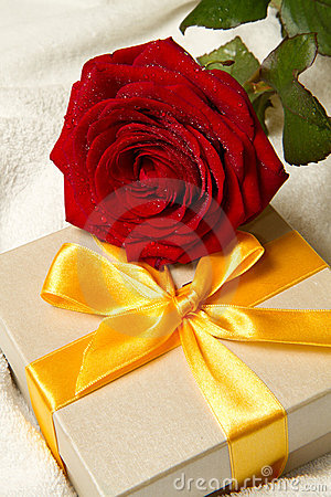 Free Red Roses And Gift Box Royalty Free Stock Photography - 17975017