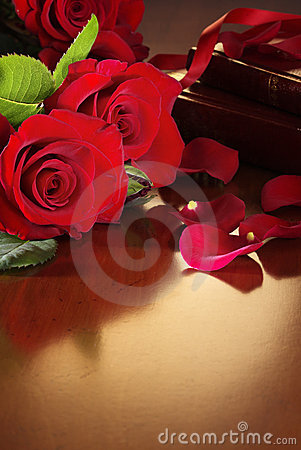Red Roses on Antique Table