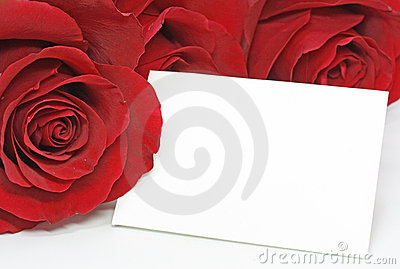 Red roses with a blank note