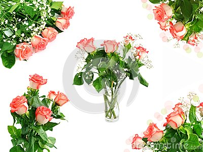 Red roses bouquet set