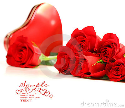 Red roses with box of chocolate on white