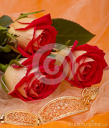 red roses with bracelet