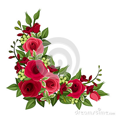 Red roses corner. Vector Illustration