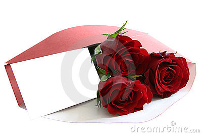 Red roses in envelope on white