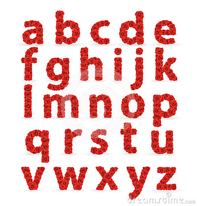 Red Roses font abc lowercase letters.