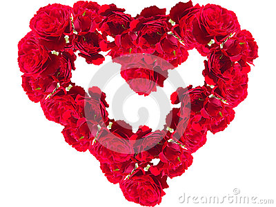 Red roses in the form of heart on a white background closeup