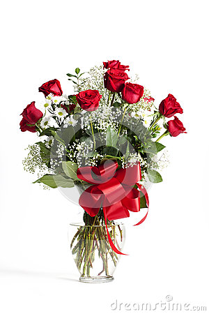 Free Red Roses Glass Vase Stock Image - 65515191