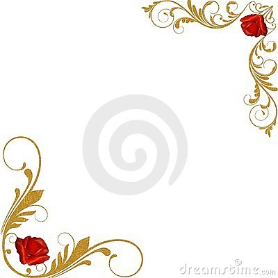 Red roses gold decorative corners