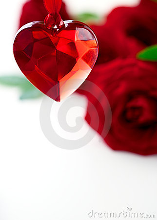 Red roses  and heart for Valentine s Day