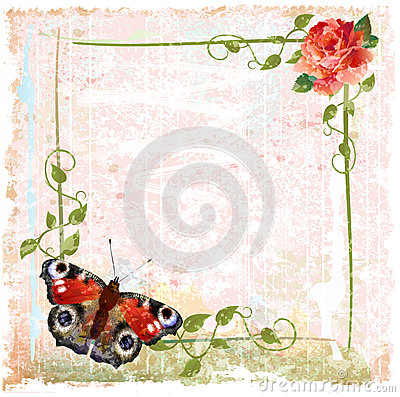 Red roses, ivy and butterfly