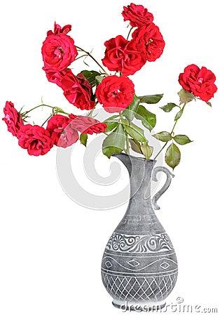 Red Roses in Jar