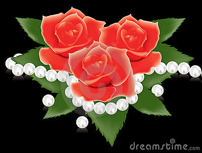 Red roses and pearl beads