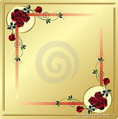Red Roses and Swirls Corners with Gold Background