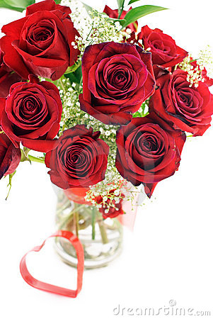 Red Roses In Vase With Heart