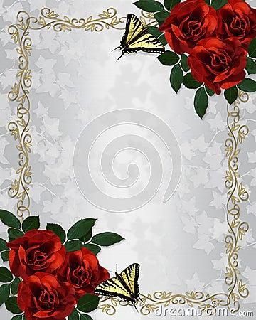 Free Red Roses Wedding Invitation  Stock Image - 9981541