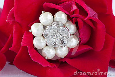Red roses and wedding rings