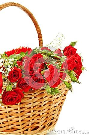 Red roses in wicker basket