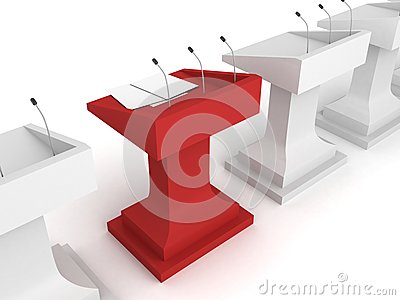 Red rostrum podium with microphone in white row