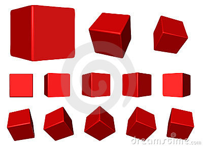 Red rotating cubes VECTOR