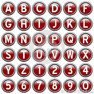 Red Round Alphabet Buttons