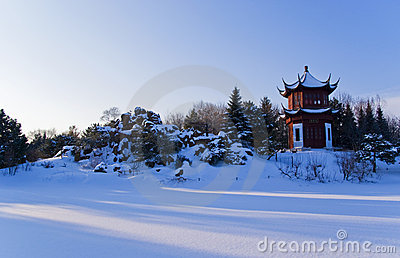 Red Round Chinese Pavilion In Winter