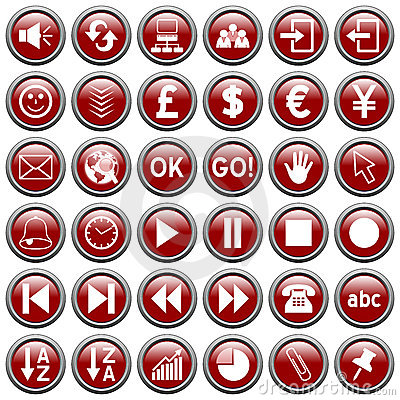 Free Red Round Web Buttons [3] Royalty Free Stock Photos - 6084738