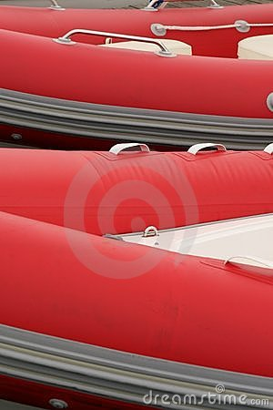 Red rubber boats
