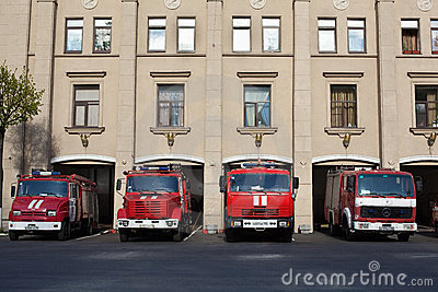 Red Russian firefighting vehicles garage Editorial Stock Photo