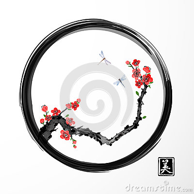 Free Red Sakura Cherry Tree And Two Blue Dragonflies In Black Enso Zen Circle On White Background. Traditional Oriental Ink Stock Image - 96706241