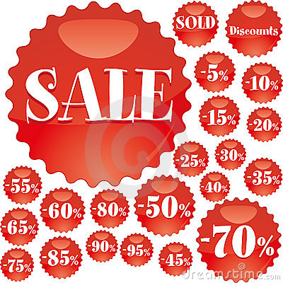 Red sale badges